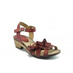 Дамски анатомични сандали на ток естествена кожа ИО 1364 червени
