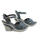 Български анатомични сандали на ток МЙ 24164 сини