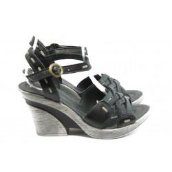 Български анатомични сандали на ток МЙ 24164 черни
