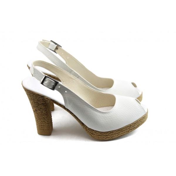 Дамски сандали на висок ток МИ 25-353 бели
