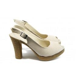 Дамски сандали на висок ток МИ 25-353 бежови на точки