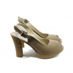 Дамски сандали на висок ток МИ 25-353 бежови