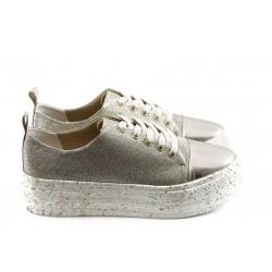 Дамски спортни обувки на платформа МР 141-7519 златни