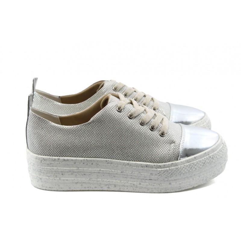 70e7f1f26f2 Дамски спортни обувки на платформа МР 141-7519 сребърни