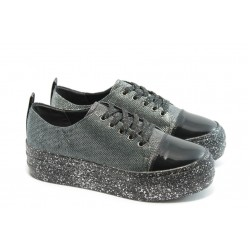 Дамски спортни обувки на платформа МР 141-7519 черни