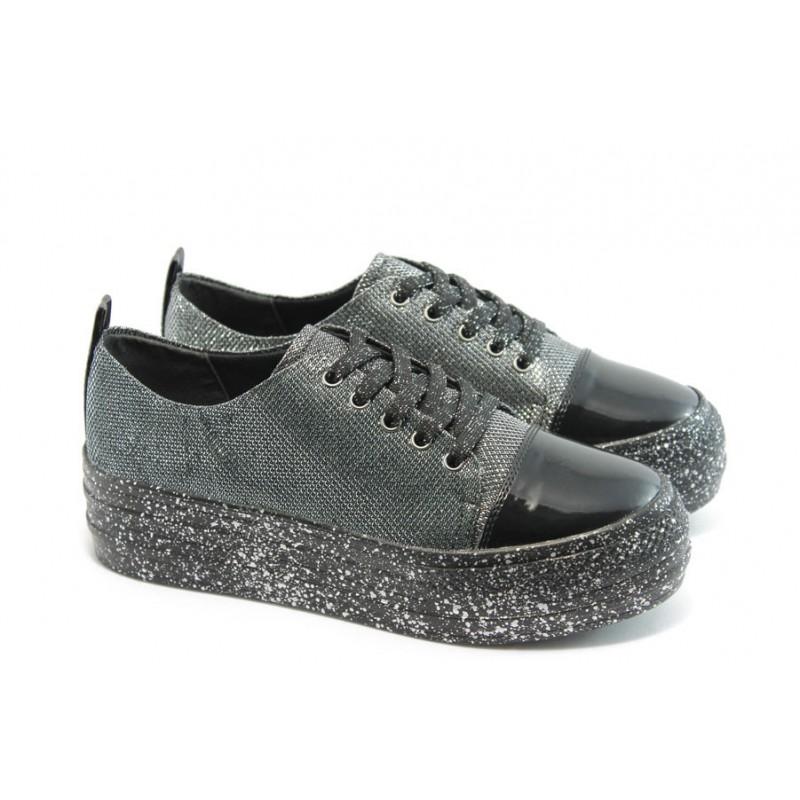22a0ab7c62c Дамски спортни обувки на платформа МР 141-7519 черни