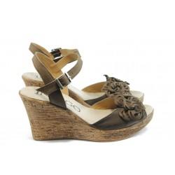 Дамски анатомични сандали на платформа ИО 1482 кафе