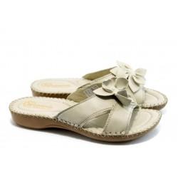 Дамски анатомични чехли естествена кожа ГР 4065 бежови