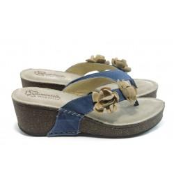 Дамски анатомични чехли на платформа ГР 4900 сини