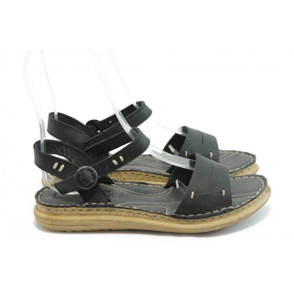 Български дамски анатомични сандали МЙ 24185 черни