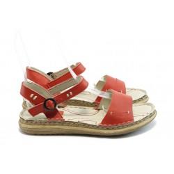 Български дамски анатомични сандали МЙ 24185 червени