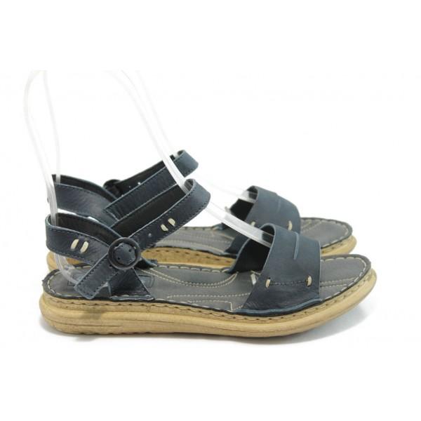 Български дамски анатомични сандали МЙ 24185 сини