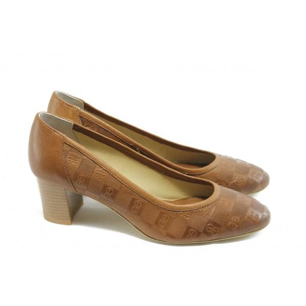 Дамски обувки на среден ток ГО 0398-2 карамел
