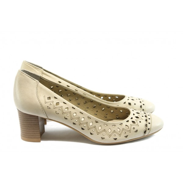 Дамски обувки на среден ток ГО 0398 бежови