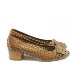 Дамски обувки на среден ток ГО 0412-7137 карамел