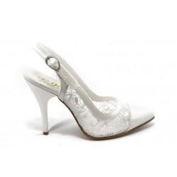 Дамски обувки на висок ток ЕО 25058 седеф и дантела