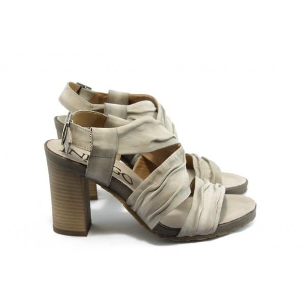 Дамски сандали на висок ток ИО 1471 бежови