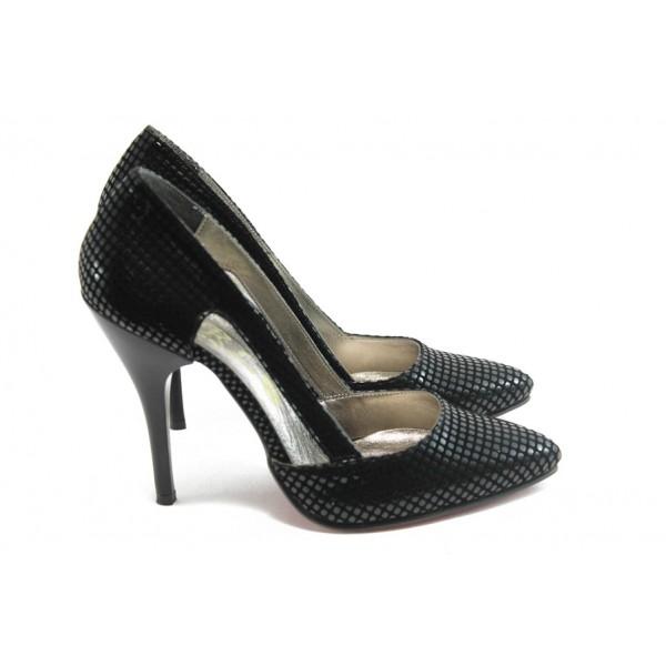Дамски елегантни обувки на висок ток ЕО 25056 черни