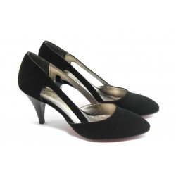 Дамски елегантни обувки на среден ток ЕО 16050 черен велур