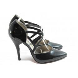 Дамски елегантни обувки на висок ток ЕО 25059 черен лак