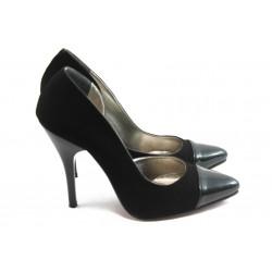 Дамски елегантни обувки на висок ток ЕО 25051 черен велур