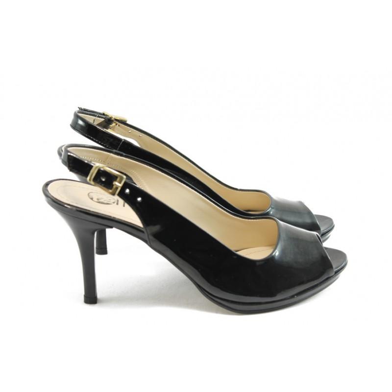 7df98c2ff3b Елегантни дамски обувки на среден ток МИ 72 черен лак