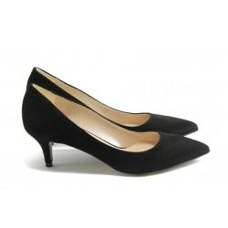 Елегантни дамски анатомични обувки на среден ток ГО 50720 черни