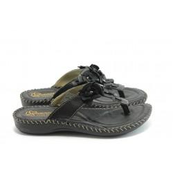 Дамски ортопедични чехли на платформа ГР 4050 черни