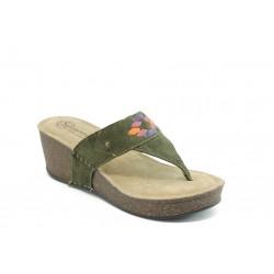 Дамски ортопедични чехли на платформа ГР 4903 зелени