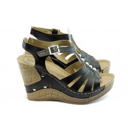 Дамски анатомични сандали на платформа Jump 5104 черни