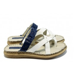 Дамски анатомични чехли МЙ 24184 бяло/синьо