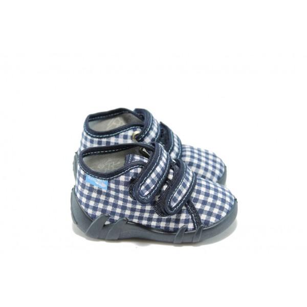 Бебешки обувки с лепенка МА 13-142-1 синьо каре
