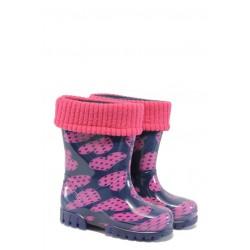 Детски гумени ботуши с топъл свалящ се чорап Demar 0038 сърца 20/27 | Гумени ботуши |MES.BG