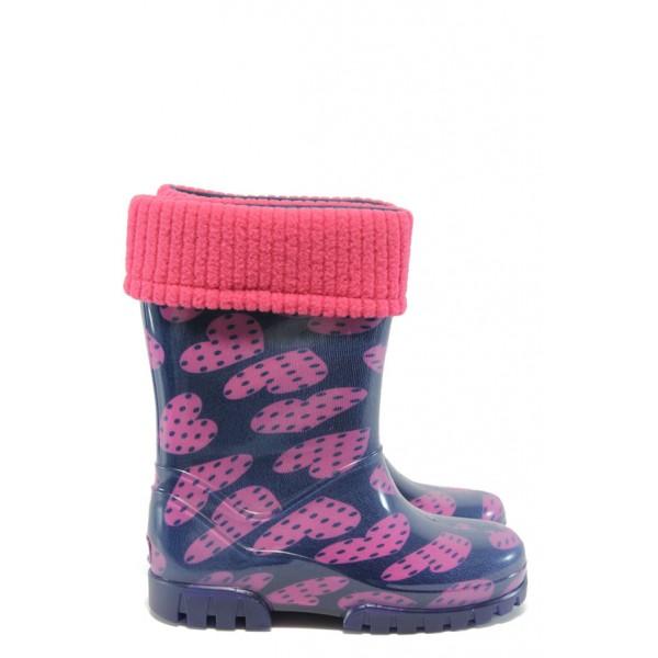 Детски гумени ботуши с топъл свалящ се чорап Demar 0039 сърца 28/35 | Гумени ботуши |MES.BG