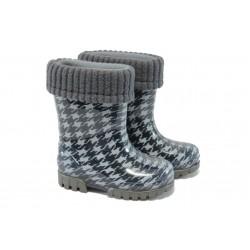 Детски гумени ботуши с топъл свалящ се чорап Demar 0048 черен 20/27 | Гумени ботуши | MES.BG