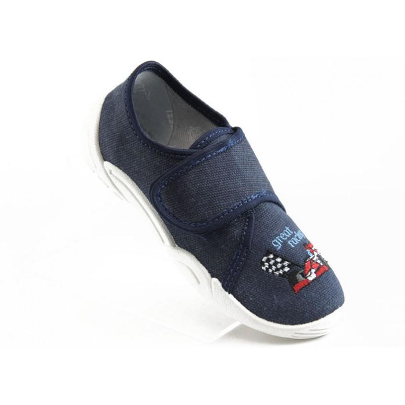 Детски обувки с лепенка МА 33-373 синьо формула
