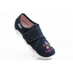 Детски обувки с лепенка МА 23-373 синьо с розово цвете