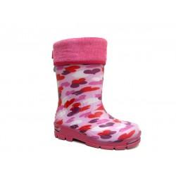 Детски гумен ботуш с топъл чорап MUFLON 33-666-1B розови сърца