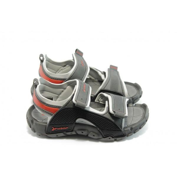 Детски анатомични сандали с лепенки Rider 81184 сиви 25/30