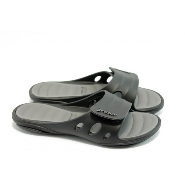 Юношески анатомични чехли с цяла лента Rider 81151 сиви