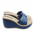 Дамски бразилски чехли на платформа Ipanema 81312 сини