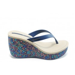 Дамски чехли на платформа Ipanema 81189 сини