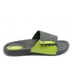 Мъжки бразилски чехли с лепенка Rider 81144 черно-зелени