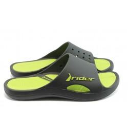 Мъжки бразилски анатомични чехли Rider 81148 черно-зелени