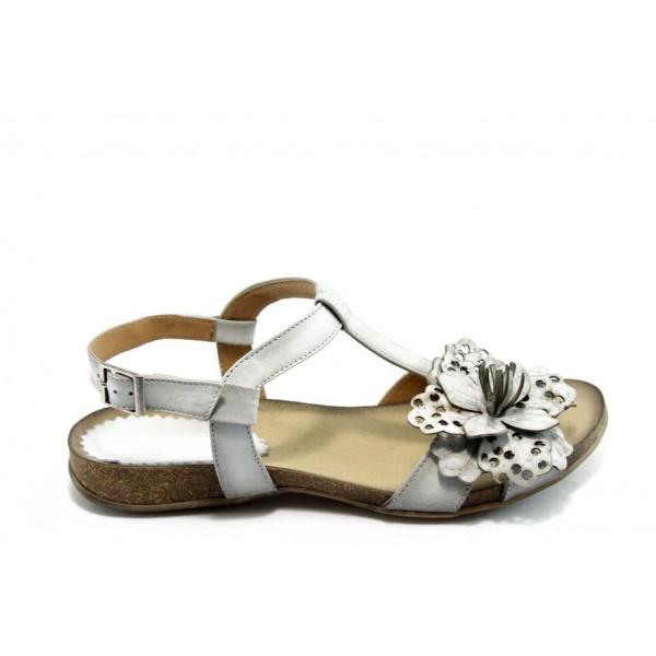Дамски анатомични сандали ИО 1392 бяло цвете
