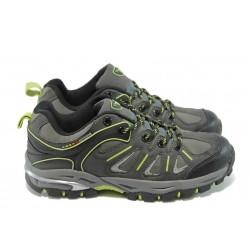 Юношески спортни обувки на Bulldozer 5260 сиво-зелени