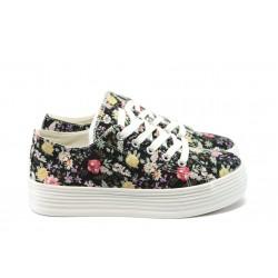 Дамски спортни обувки на платформа ФР R66 черни на цветя