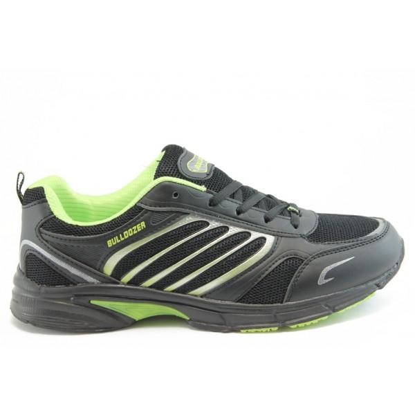 Дишащи мъжки маратонки с класическо ходило Bulldozer 3439 черно-зелено