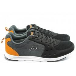 Мъжки маратонки с връзки Jump 8813 черно-сиви