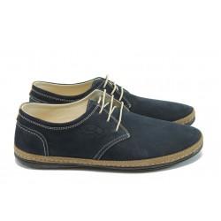 Мъжки анатомични обувки с връзки ПИ 728 т.син набук